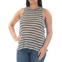 Womens Green Striped Sleeveless Crew Neck Casual Top  Size  L