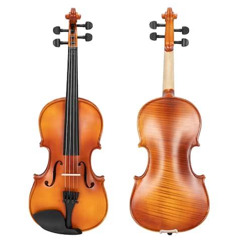 "23.6""Glarry GV300 4/4 Maple Matte Natural Violin Tiger Pattern"
