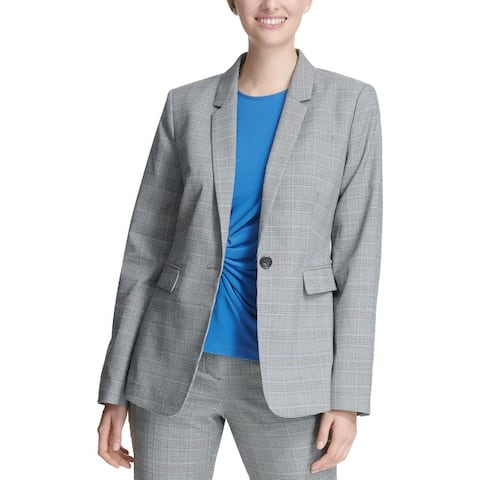DKNY Womens One-Button Blazer Plaid Suit Seperates - Black Multi