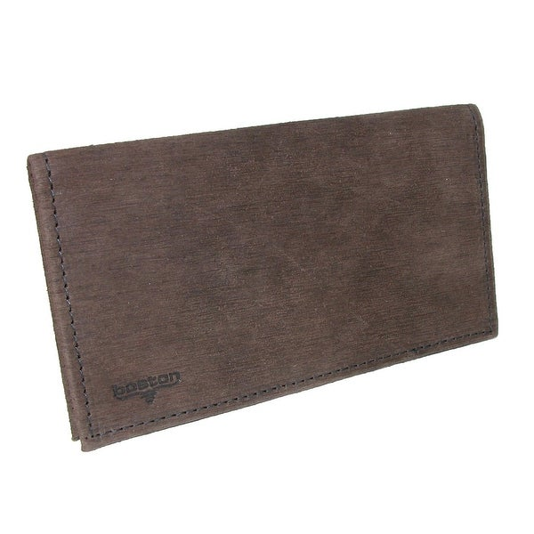 Boston Leather Textured Bark Leather Checkbook Cover - One size