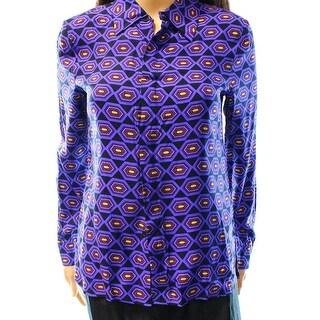 Kate Spade NEW Purple Women's Size 2 Geo-Print Button Down Silk Shirt