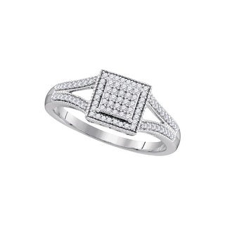 1/5Ctw Diamond Micro-Pave Bridal Engagement Ring 10K White-Gold
