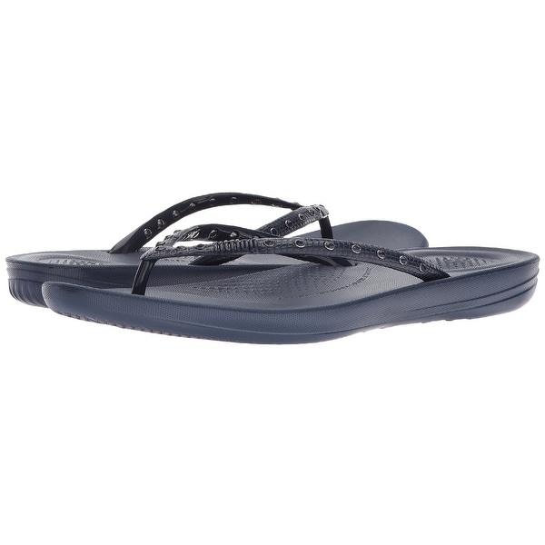 Fitflop Womens Iqushion Ergonomic Crystal Flip Flop, Midnight Navy, 8 B(M) Us