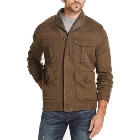 Weatherproof Men Sweater Olive Green Size Medium M Sherpa Line Full Zip