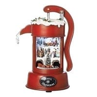 """Set of 2 Red Christmas Scene Musical LED Water Pump Table Top Decor 9"""" - WHITE"""