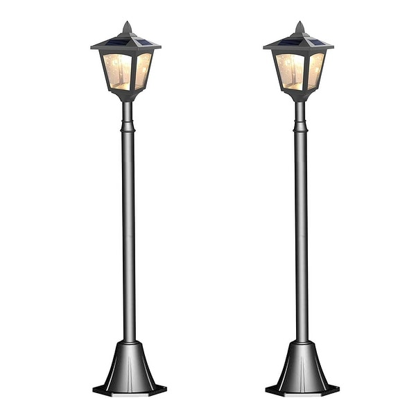 Kanstar pack of 2 solar powered 42 outdoor vintage mini street lamp kanstar pack of 2 solar powered 42 outdoor vintage mini street lamp post light aloadofball Images