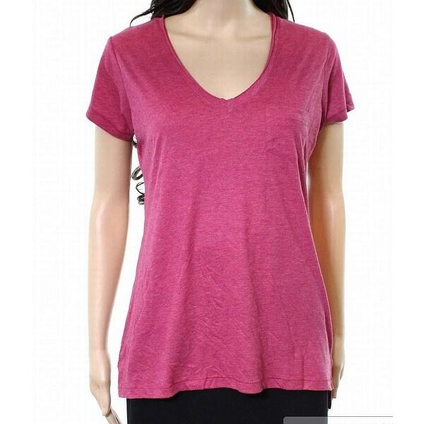 Alternative Sangria Pink Womens Size XS V-Neck Pocket Tee Knit Top