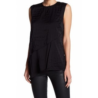 DKNY NEW Black Women's Size Large L Layered Asymmetrical Blouse