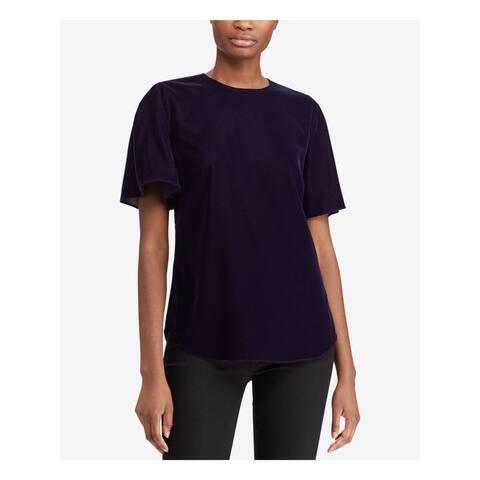 RALPH LAUREN Womens Purple Velvet Short Sleeve Jewel Neck Top Size 4