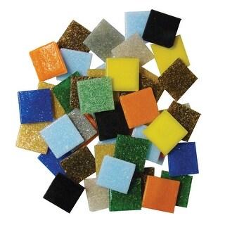 Diamond Tech Venetian Glass Mosaic Tiles, 3/4 Inch Square, Assorted Colors, 3 Pounds