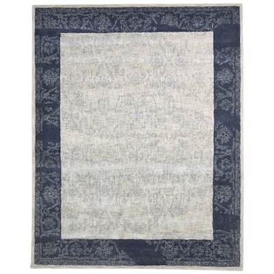 """One of a Kind Hand-Tufted Modern & Contemporary 8' x 10' Oriental Wool Ivory Rug - 8'0""""x10'0"""""""