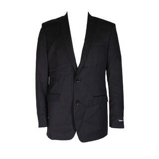 Bar Iii Black Solid Slim Fit Skinny Lapel Double Button Blazer 40L