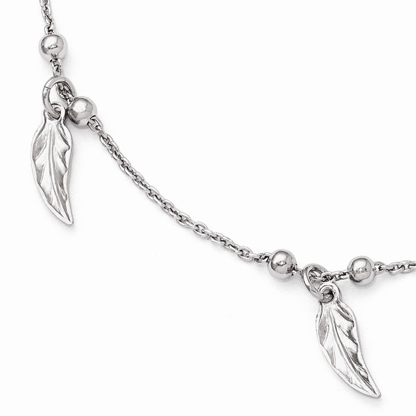 Italian Sterling Silver Polished Feather Anklet with 1in ext - 9 inches