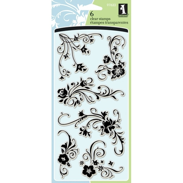 """Inkadinkado Clear Stamps 4""""X8""""-Floral Flourishes"""