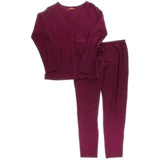 Josie Natori Womens Brushed Jersey 2PC Pajama Set - M