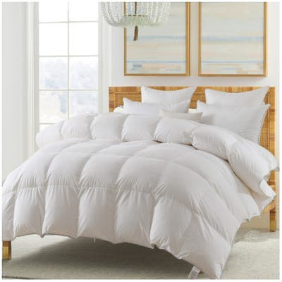 Kasentex White Goose Down and Feather Comforter, Cotton - All Season - Duvet Insert - 550 Fill Power