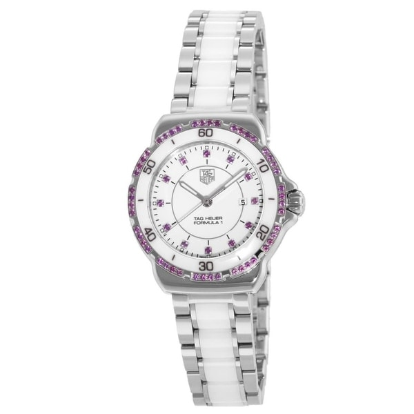 Tag Heuer Women's WAH1319.BA0868 'Formula 1' Diamond Two-Tone Stainless Steel and Ceramic Watch - White. Opens flyout.