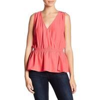 14th & Union Pink Womens Size Large L Surplice Peplum Wrap Blouse 081
