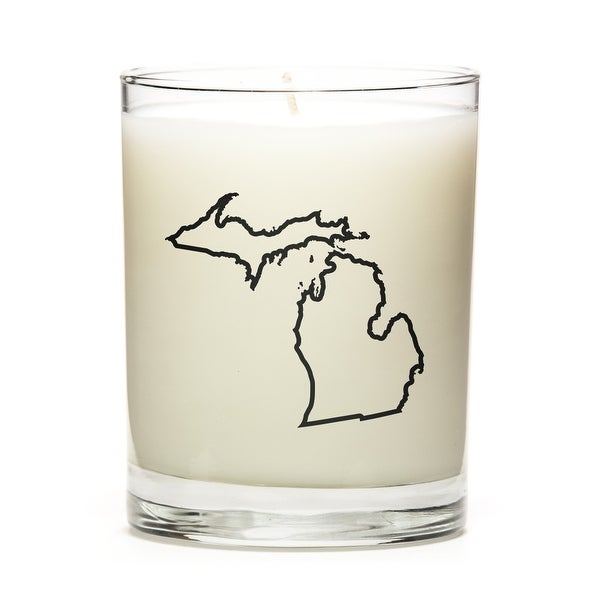 State Outline Candle, Premium Soy Wax, Michigan, Fine Bourbon