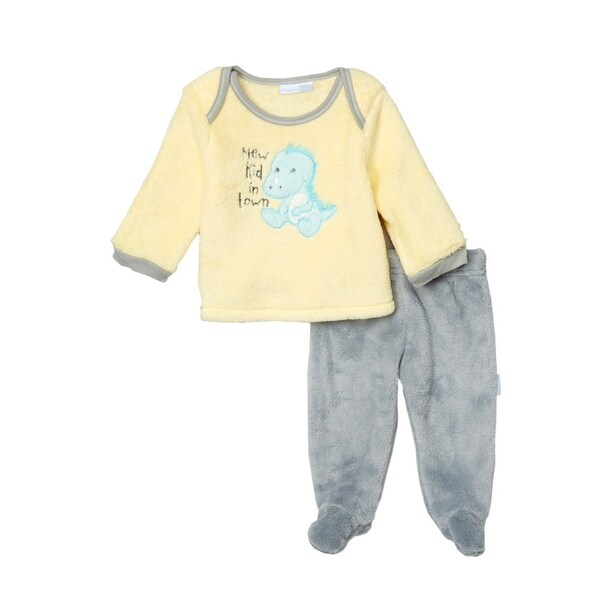 Vitamin Kids Baby boys Yellow Dinosaur Applique 2 Piece Footed Pant 3-6M