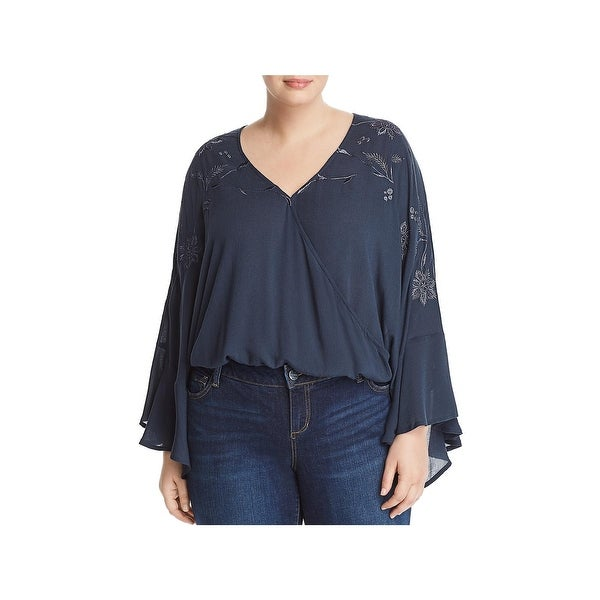 Lucky Brand Womens Plus Wrap Top Embroidered Bell Sleeves