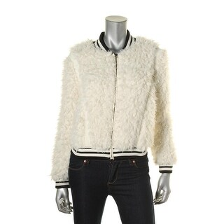 Kiind Of Womens Tina Faux Fur Contrast Trim Bomber Jacket