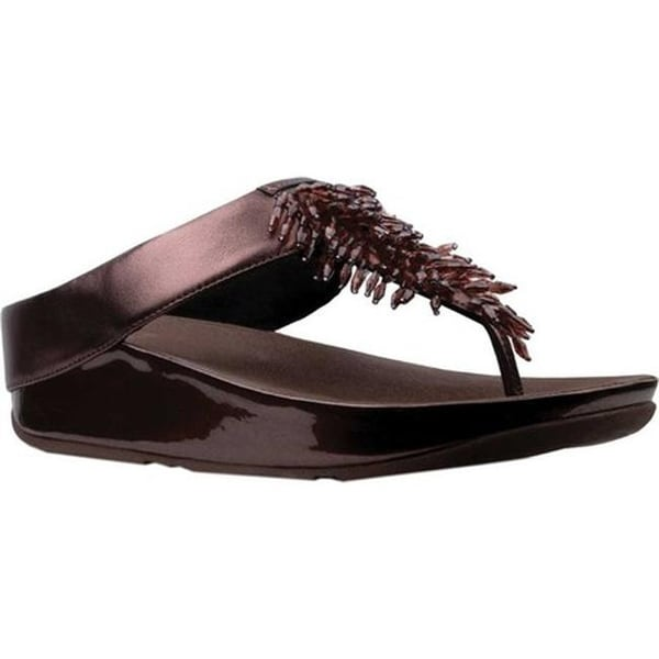 36e3f9df8509 Shop FitFlop Women s Rumba Wedge Thong Sandal Metallic Berry Leather ...