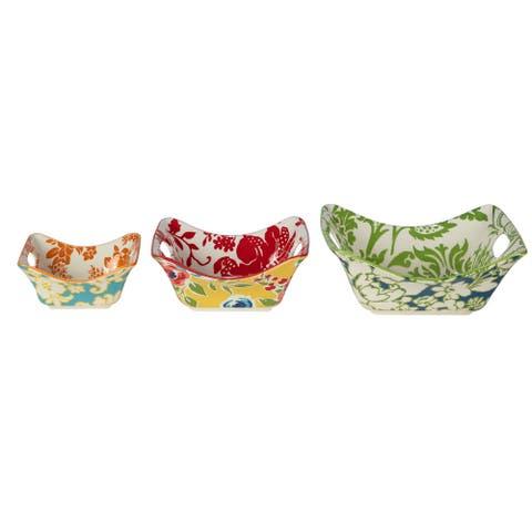 Certified International Damask Floral 3-piece Square Bowl Set