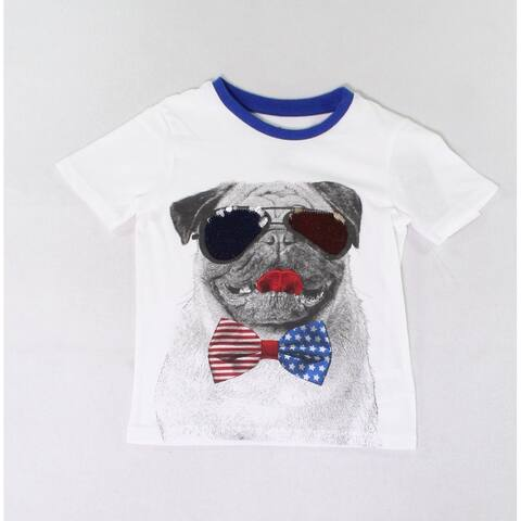 Hollywood Baby Boys T-Shirts White Blue Size 5 Sequined Pug-Print