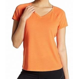 Zella Orange Women's Size Small S V-Neck Ventilated  Knit Top