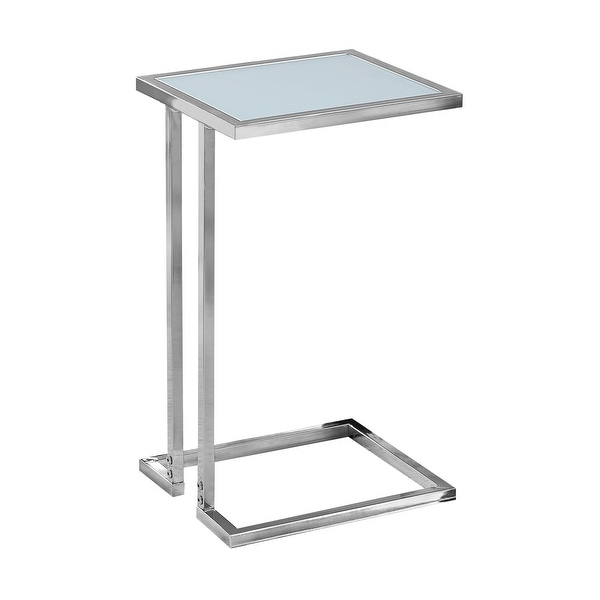 """23.25"""" White Contemporary Rectangular Accent Table with Frosted Tempered Glass Top - N/A"""