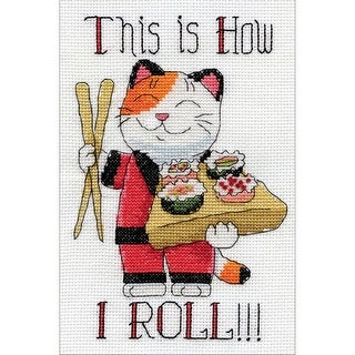 """How I Roll Mini Counted Cross Stitch Kit-5""""X7"""" 14 Count"""