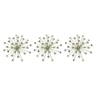 Jeweled Bursting Star Wall Sculpture Set of 3 - 10 X 10 X 1.75 inches