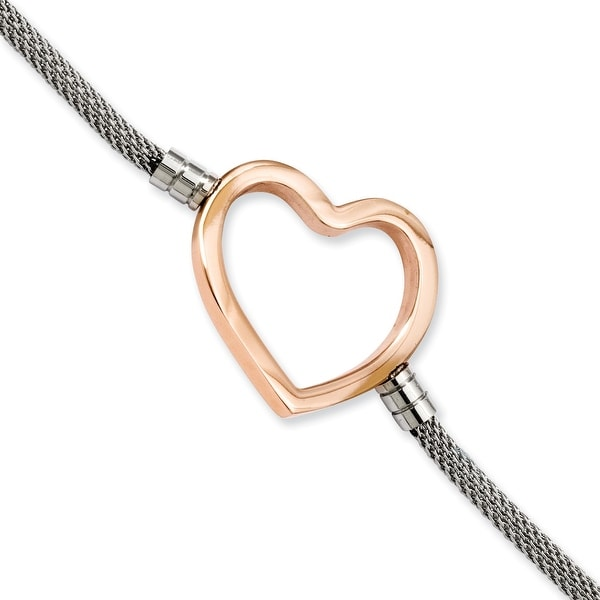 Stainless Steel Rose-plated Heart Mesh 7.75 with ext Bracelet