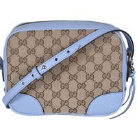 "Gucci 449413 Beige Blue Canvas Leather GG Guccissima BREE Crossbody Purse - Beige/Blue - 8.5"" x 7"" x 4"""