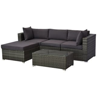Outsunny 5-piece Deluxe Outdoor Patio Rattan Furniture Set with Cushions