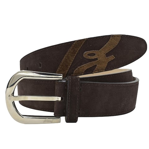 Brioni Mens Brown Silver Buckle Belt Size 100