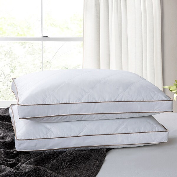 Medium-Firm 2-inch Gusset Down and Feather Pillows (Set of 2) - White. Opens flyout.