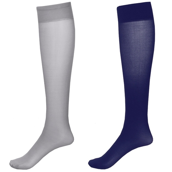 Moderate Compression 2 Pair Knee Highs - Wide Calf - Navy/Grey