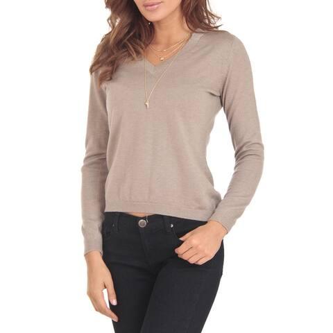 Cashmere Blend Beige V-Neck Sweater