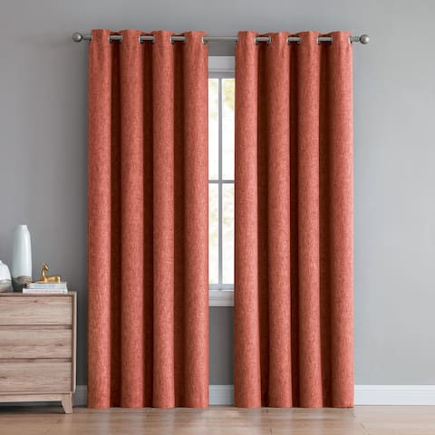 Jerome Textured Room Darkening Window Curtain Panels (Single, 2-Pack or 4-Pack)