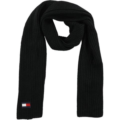 Tommy Hilfiger Mens Logo Scarf, black, One Size - One Size