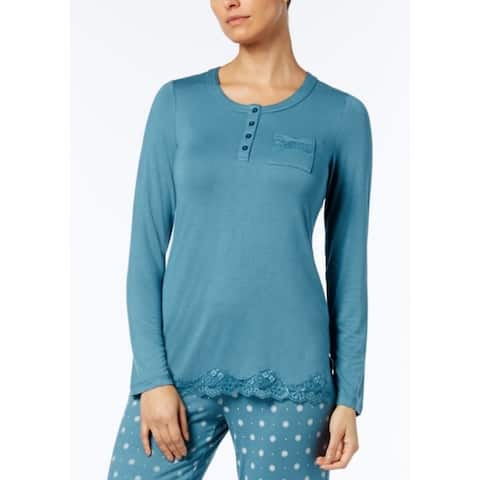 Alfani Women's Lace-Trim Sleep Tunic Top Aqua Smoke Size Extra Small - Blue - X-Small