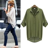 Women Casual Chiffon  V Neck Blouse