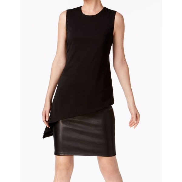 25ede9b0de5 Shop Calvin Klein Black Womens Size 10 Faux-Leather Skirt Shift Dress - Free  Shipping Today - Overstock - 21861090