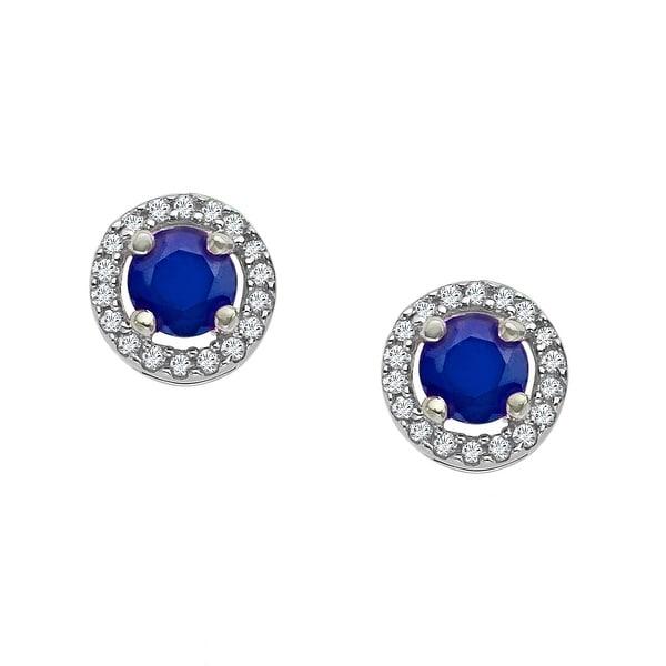1/3 ct Sapphire & 1/10 ct Diamond Stud Earrings in 10K White Gold