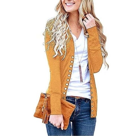 Women's Sweater Cardigans Solid Button Front Knitwears Long Sleeve Casual Cardigans