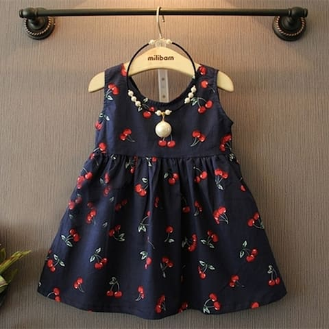 New Baby Girl Fashion Korean Summer Kids Dresses Casual Cherry Sleeveless Cute