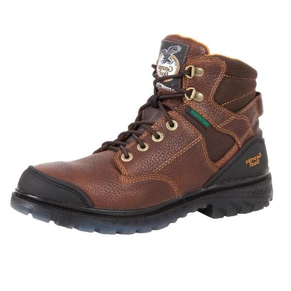 """Georgia Boot Work Mens 6"""" Zero Drag Waterproof Steel Toe Brown"""