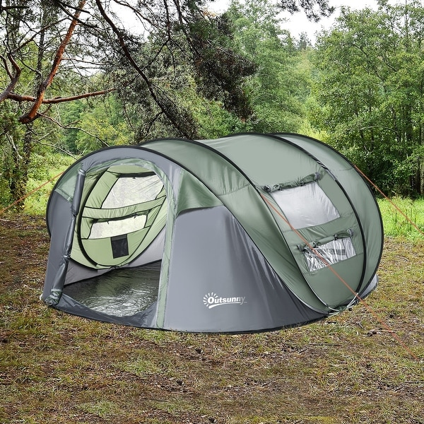 Outsunny 5 Person Camping Tent with a Water-Fighting Polyester Rain Cover, Easy Pop-Up Design, & 2 Mesh Windows with Covers. Opens flyout.